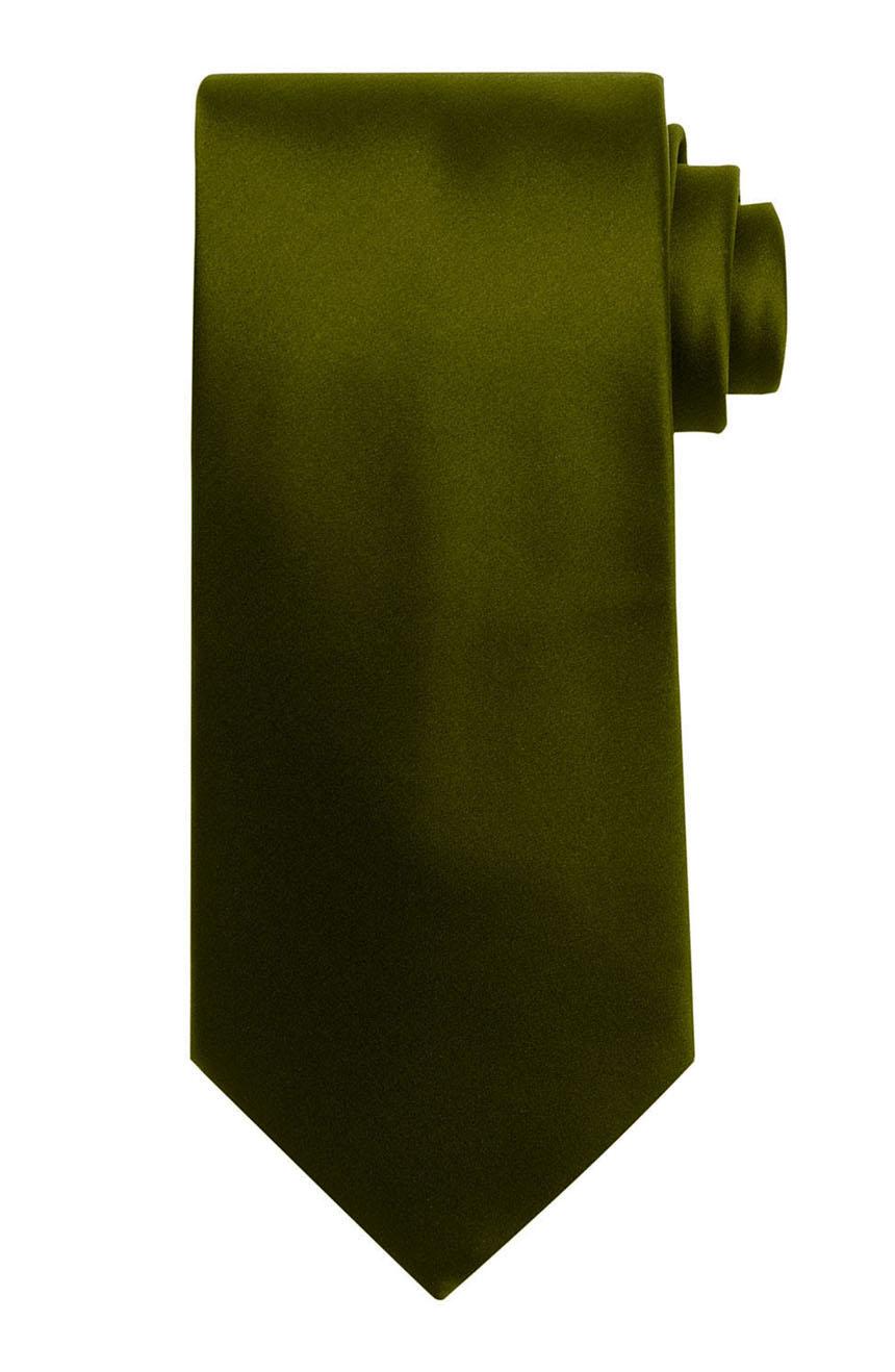 Mens handmade satin silk necktie in solid olive color.