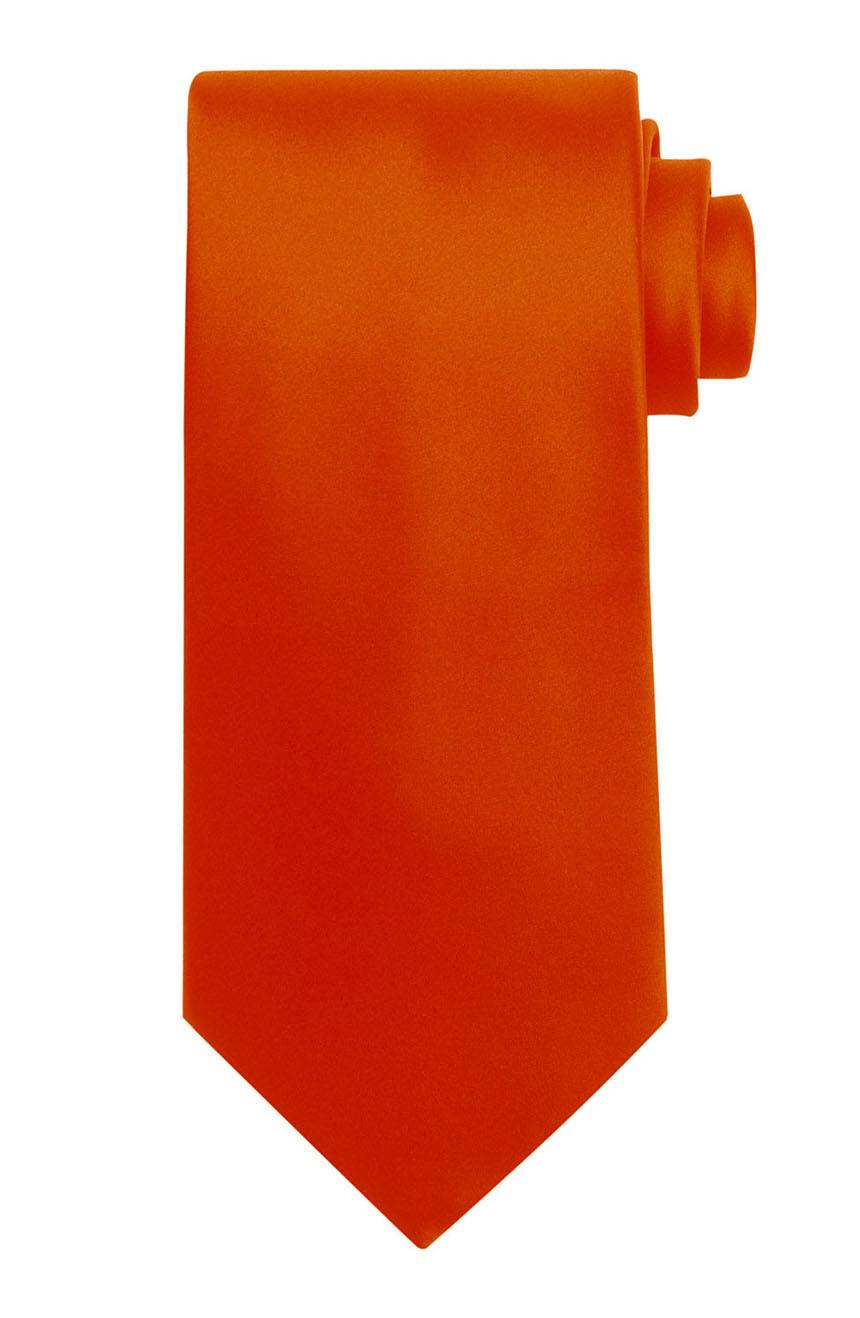 Mens handmade satin silk necktie in solid orange color.