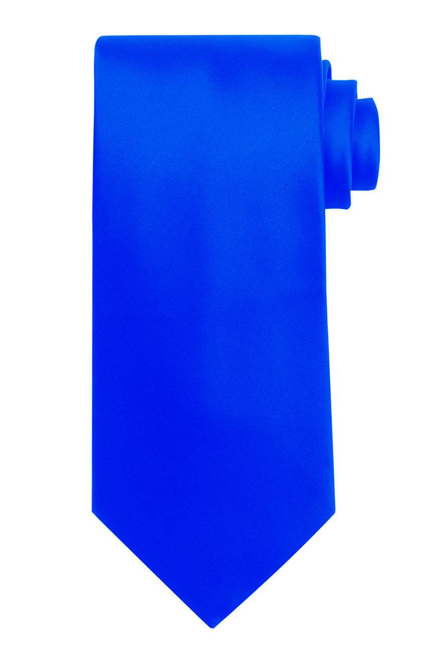 Mens handmade satin silk necktie in solid royal blue color.