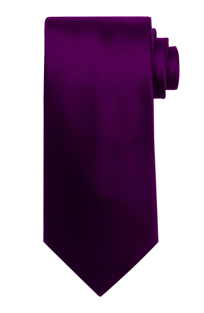 Mens handmade satin silk necktie in solid royal purple color.