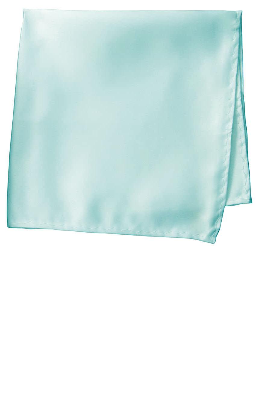 Silk pocket square handmade in solid aqua color satin silk.