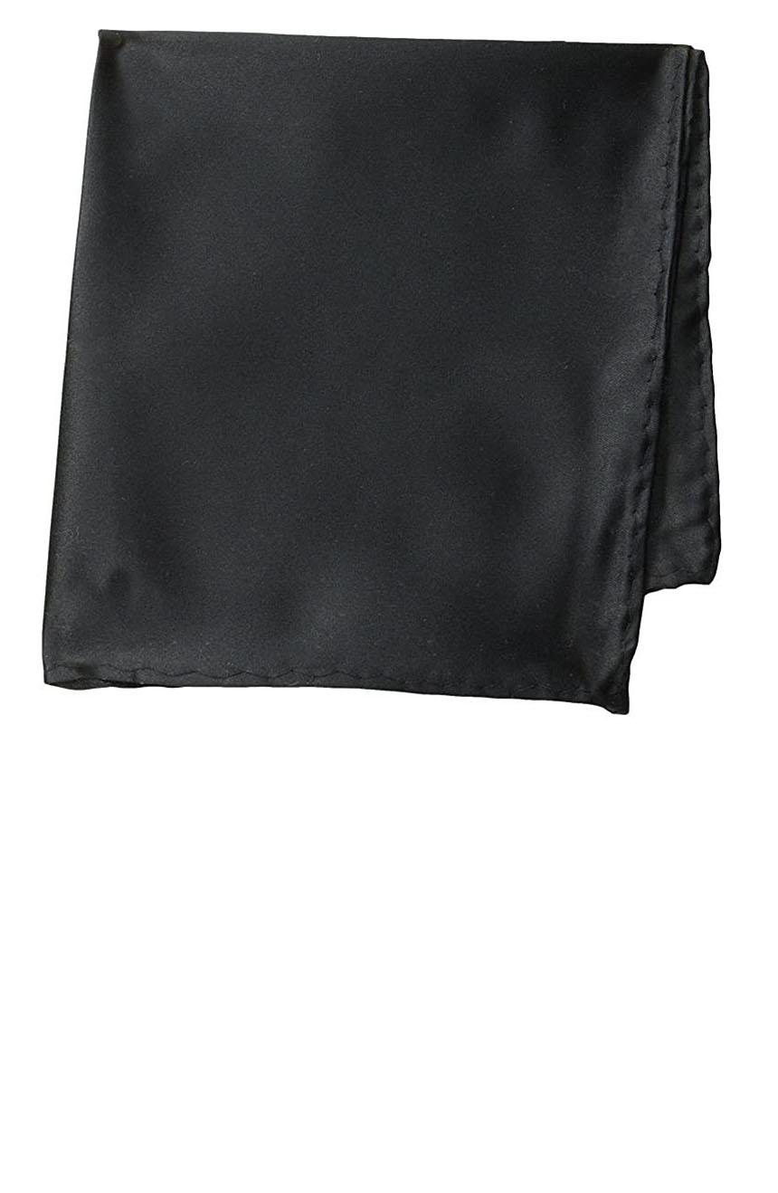 Silk pocket square handmade in solid black color satin silk.