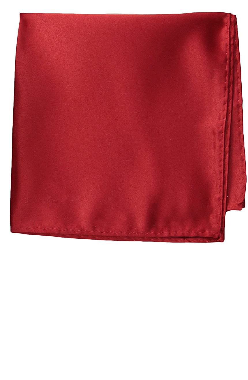 Silk pocket square handmade in solid red color satin silk.