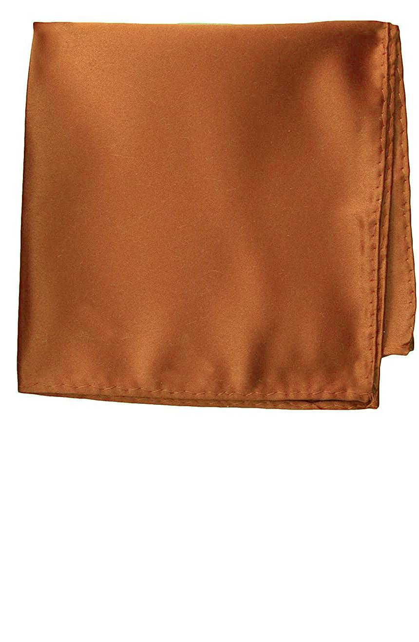 Silk pocket square handmade in solid brown color satin silk.