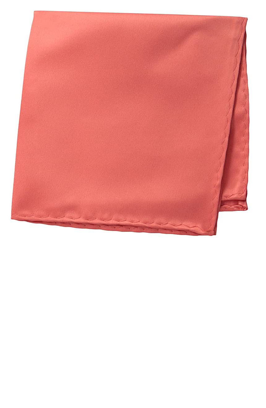 Silk pocket square handmade in solid coral color satin silk.