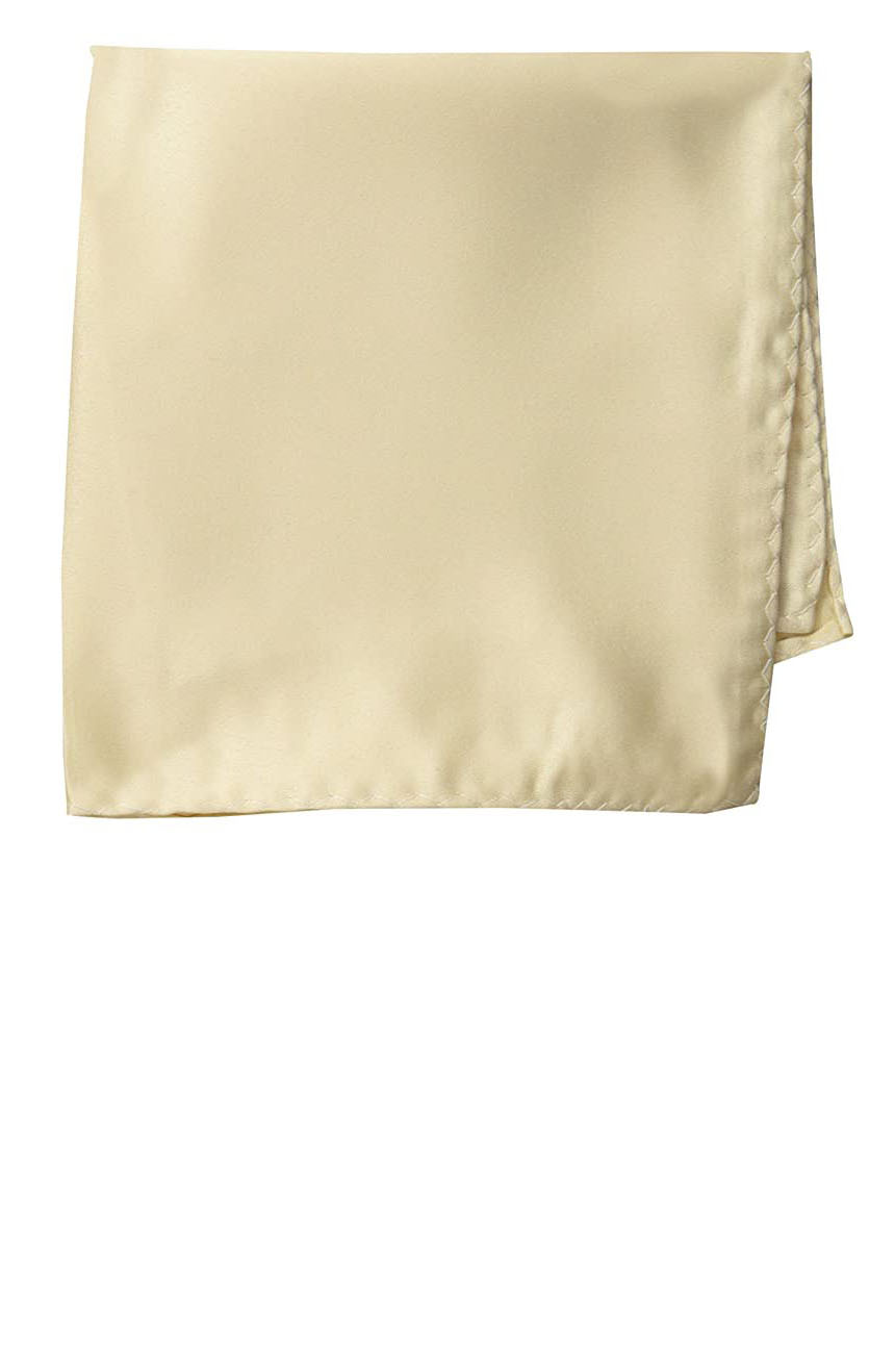 Silk pocket square handmade in solid cream color satin silk.