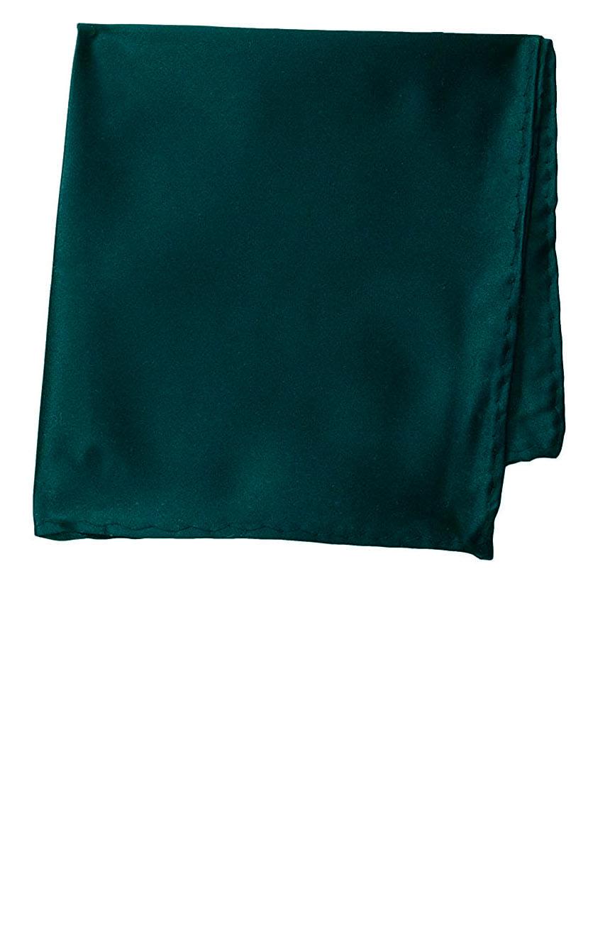 Silk pocket square handmade in solid emerald color satin silk.