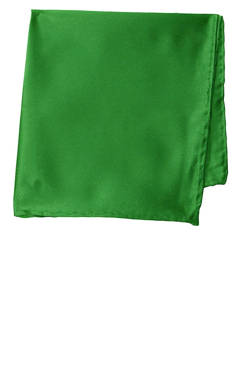 Silk pocket square handmade in solid green color satin silk.