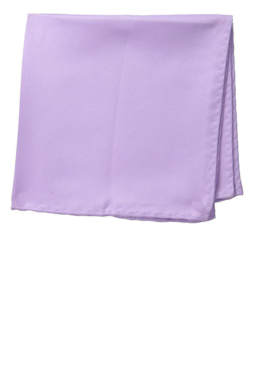 Silk pocket square handmade in solid lilac color satin silk.