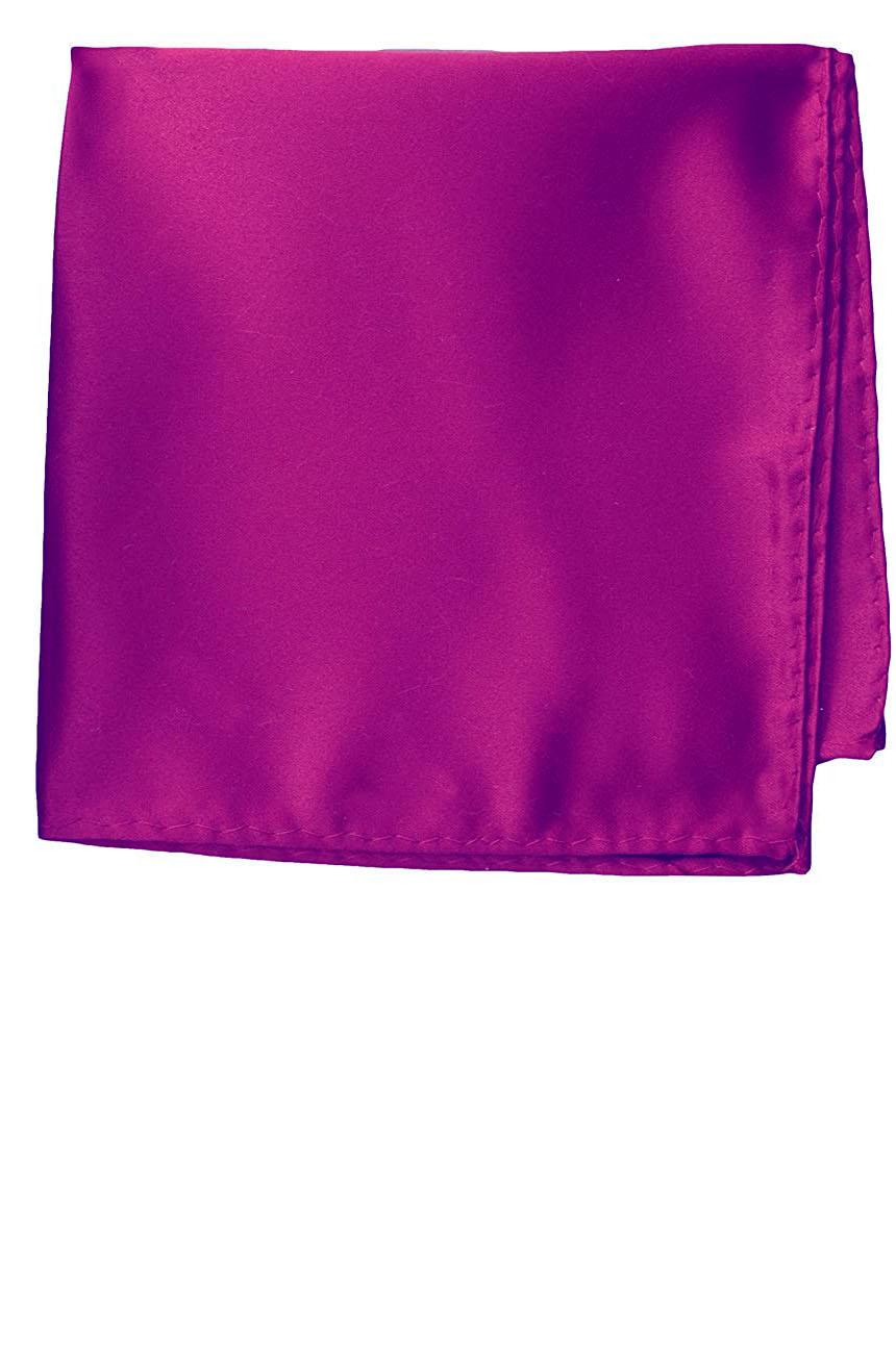 Silk pocket square handmade in solid magenta color satin silk.