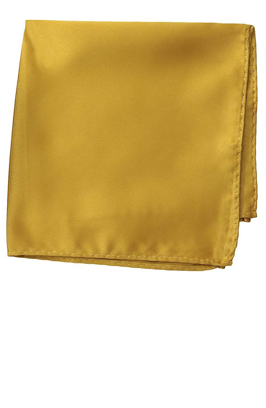 Silk pocket square handmade in solid mustard color satin silk.