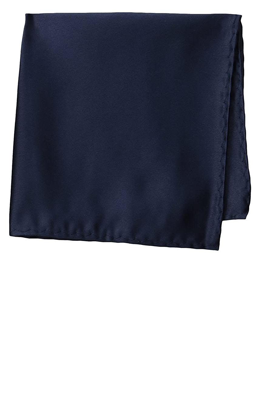 Silk pocket square handmade in solid navy color satin silk.
