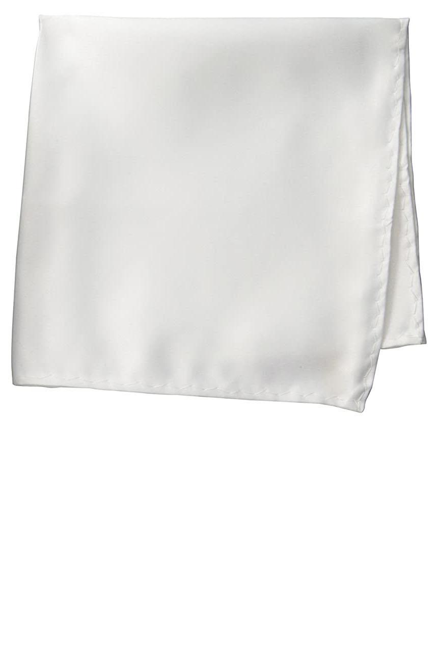 Silk pocket square handmade in solid off-white color satin silk.
