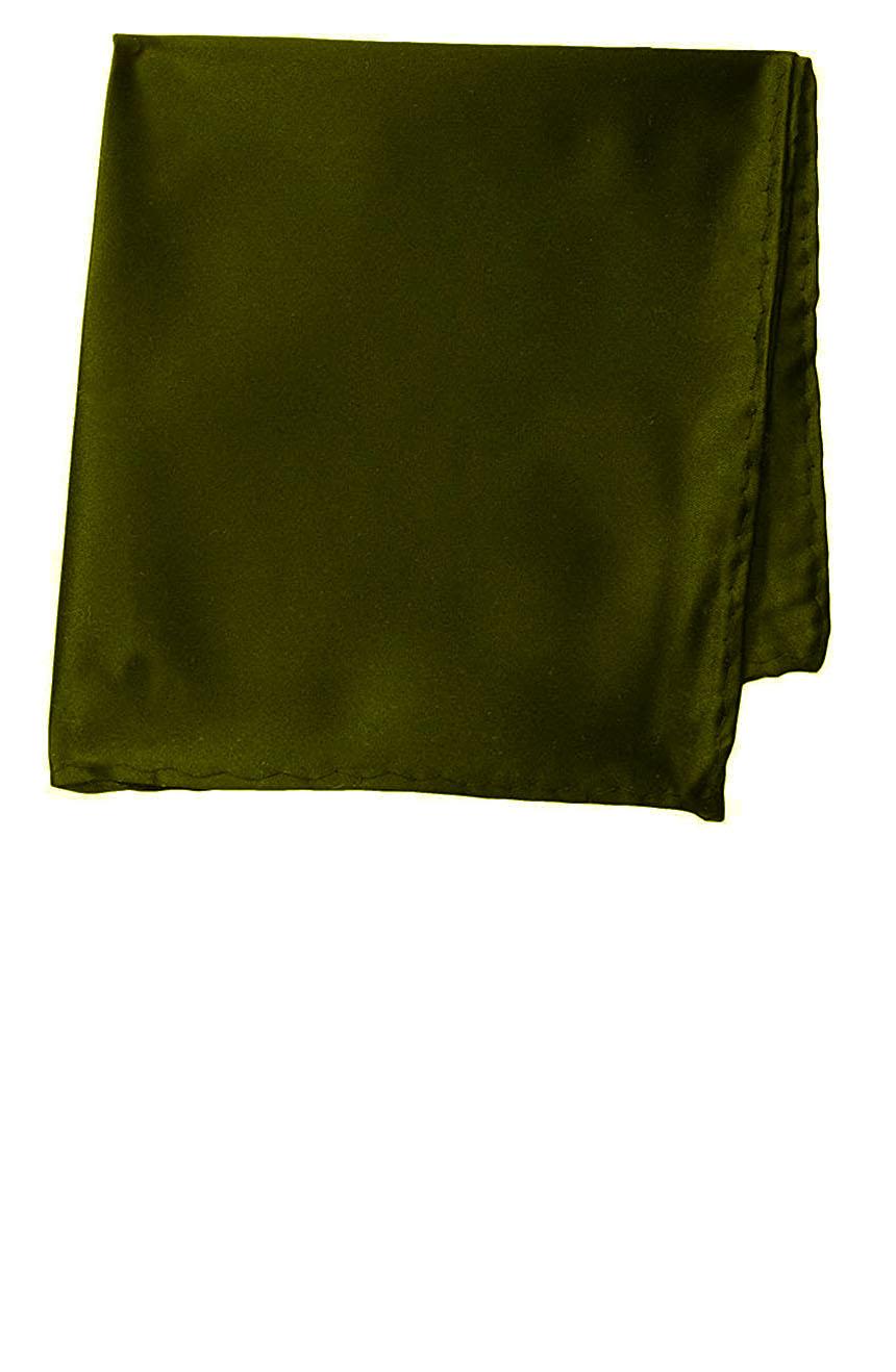 Silk pocket square handmade in solid olive color satin silk.