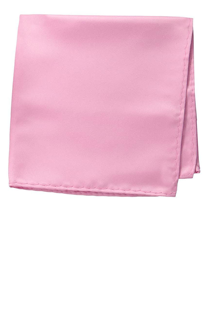 Silk pocket square handmade in solid pink color satin silk.