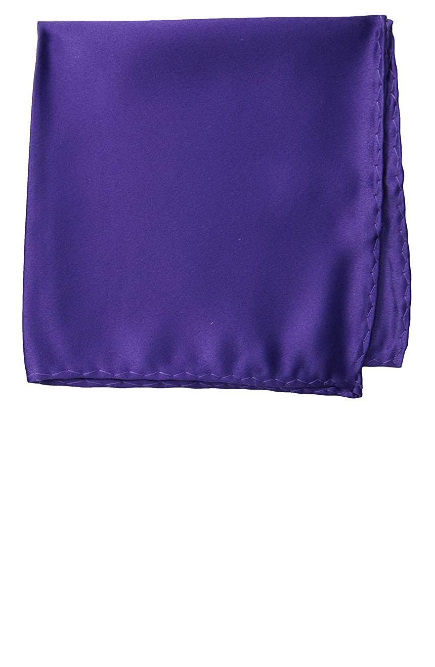 Silk pocket square handmade in solid purple color satin silk.