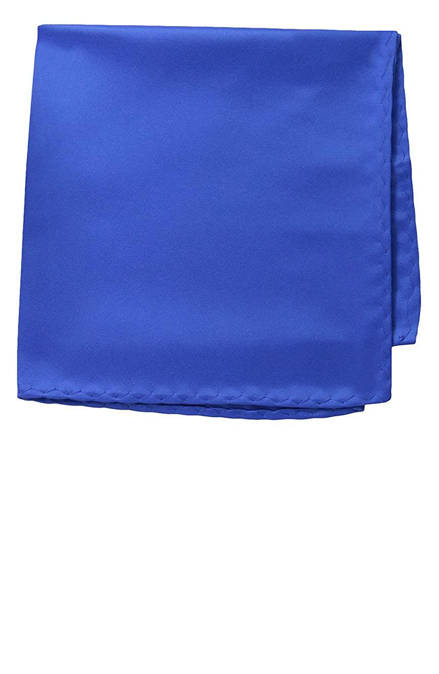 Silk pocket square handmade in solid royal blue color satin silk.