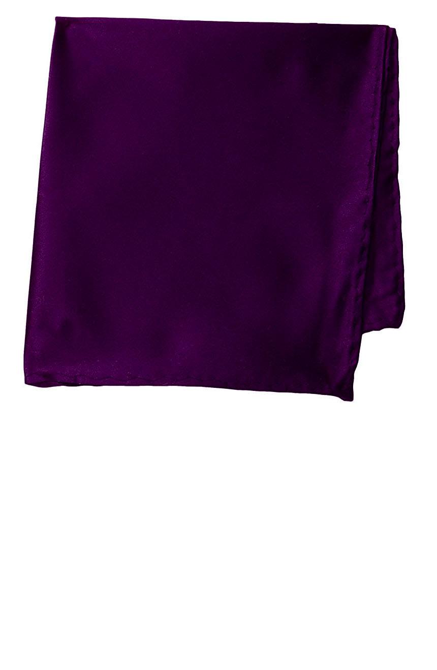 Silk pocket square handmade in solid royal purple color satin silk.