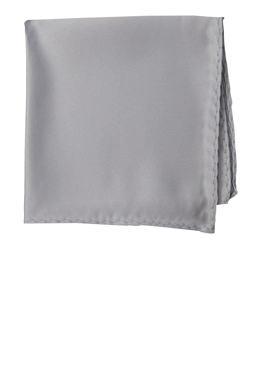 Silk pocket square handmade in solid silver color satin silk.