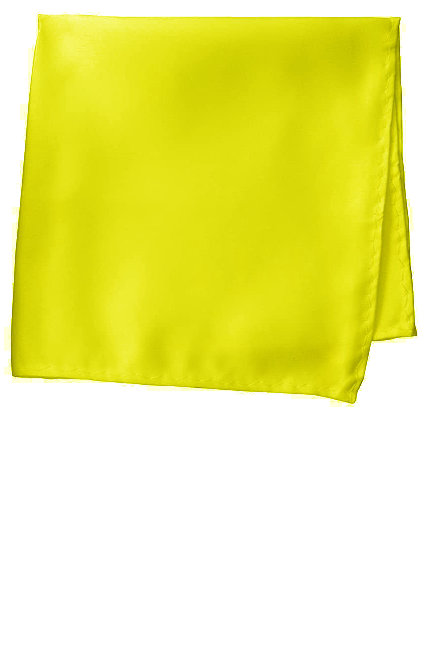Silk pocket square handmade in solid yellow color satin silk.