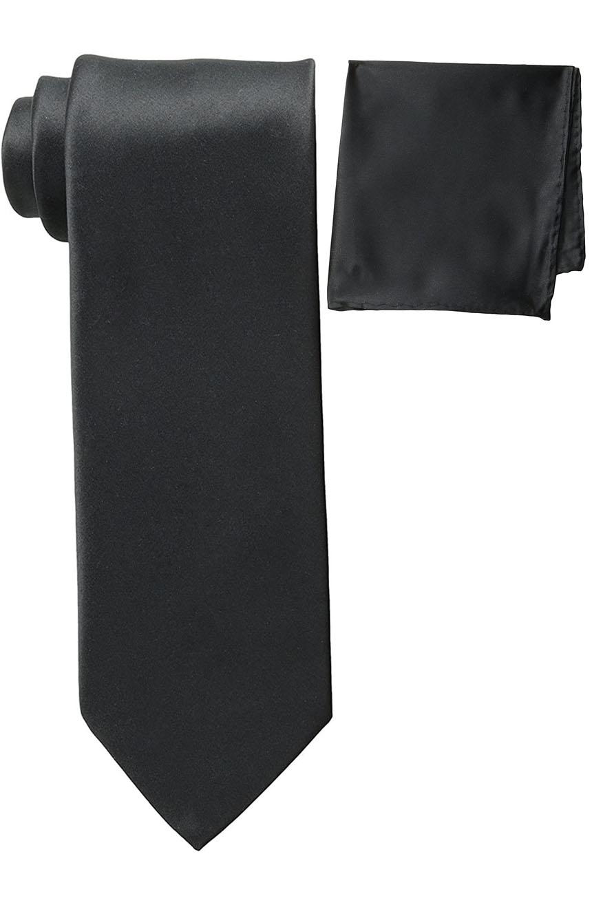 Mens silk tie and pocket square set black.