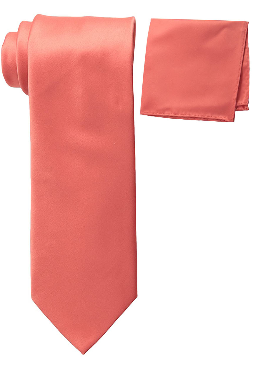 Mens silk tie and pocket square set coral.