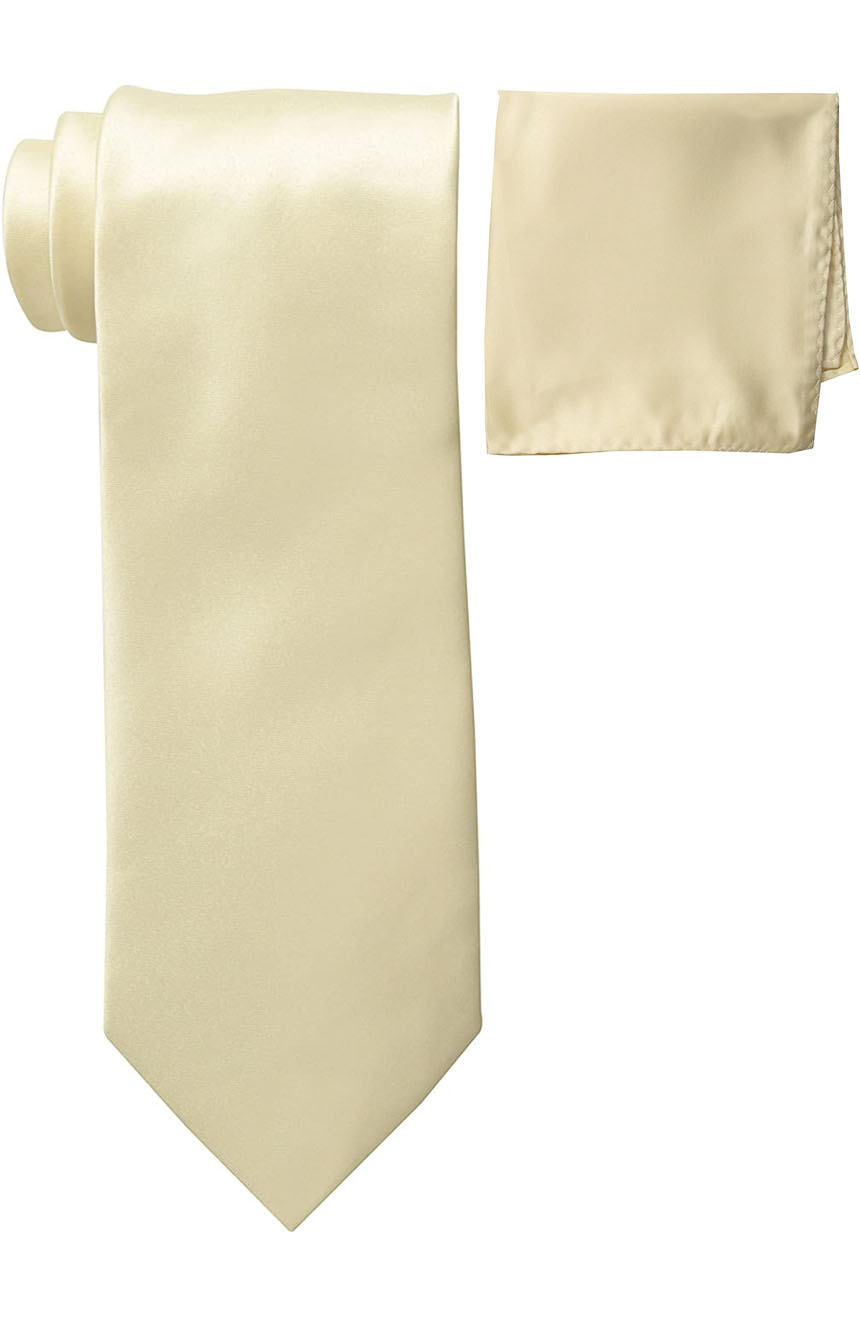 Mens silk tie and pocket square set cream.