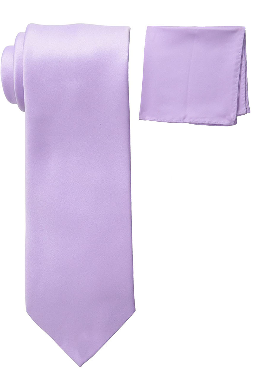 Mens silk tie and pocket square set in lilac color.