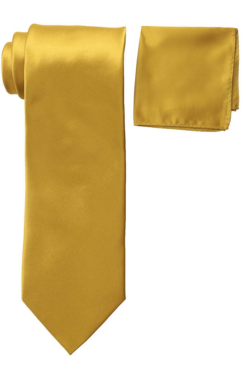 Mens silk tie and pocket square set mustard.