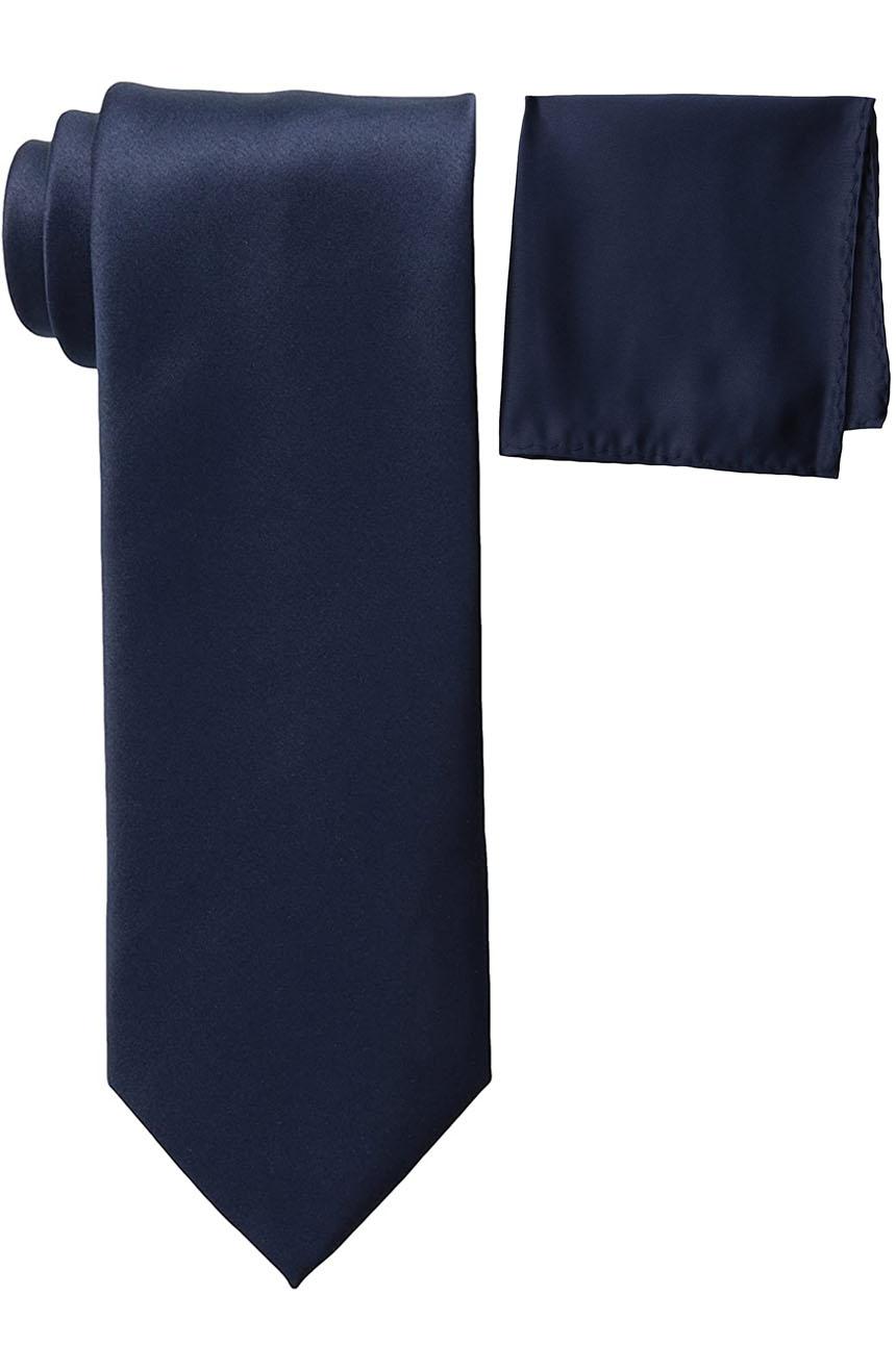 Mens silk tie and pocket square set navy.