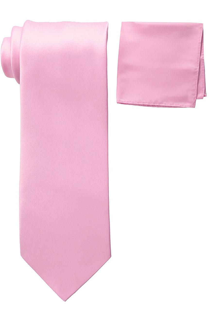 Mens silk tie and pocket square set pink.