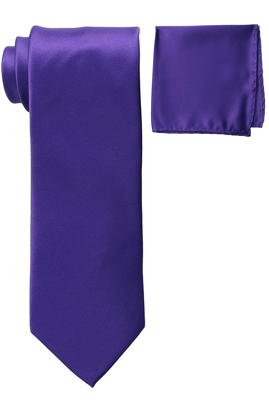 Mens silk tie and pocket square set purple.