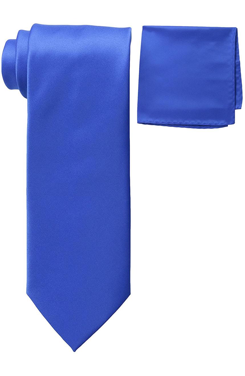 Mens silk tie and pocket square set royal blue.
