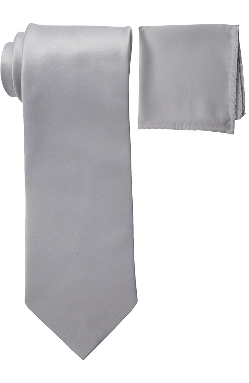 Mens silk tie and pocket square set silver.