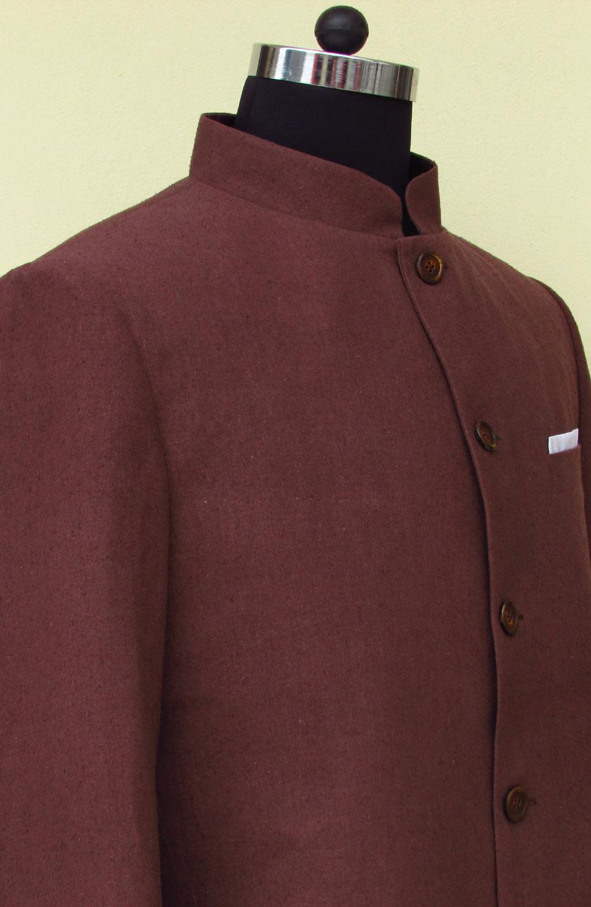 Silk Nehru jacket from James Bond movie Dr. No. Mandarin collar view.