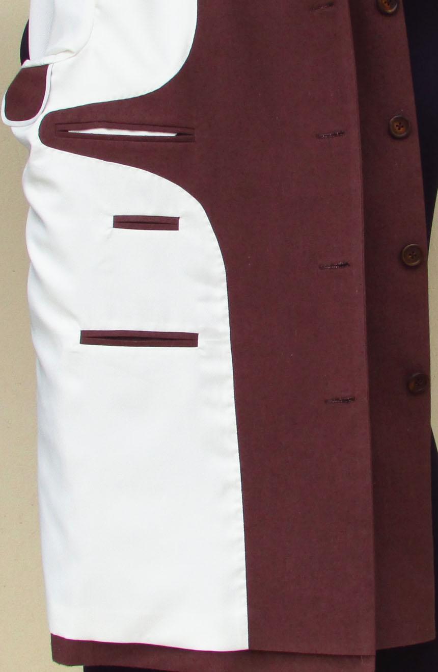 Silk Nehru jacket from James Bond movie Dr. No. Contrast lining view.