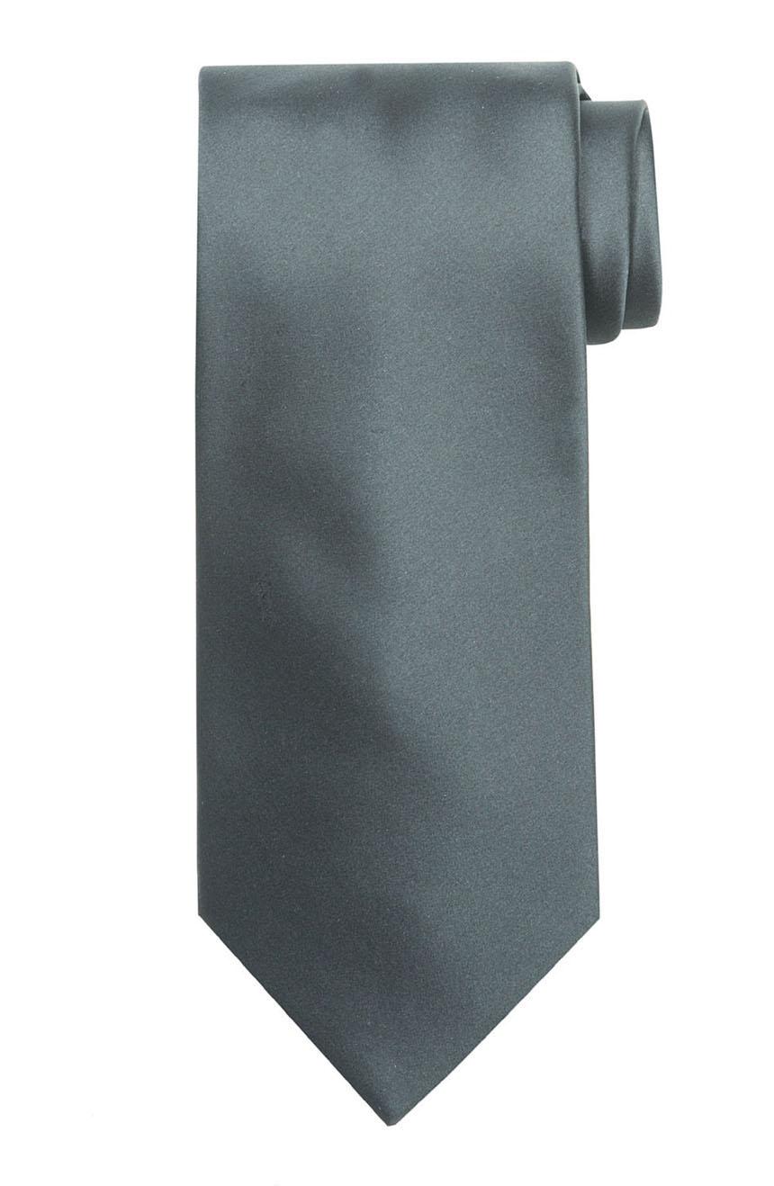 Mens handmade satin silk necktie in solid dark silver color.