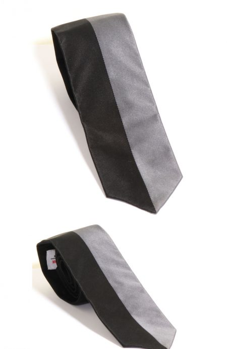 Two face silk neckties handmade in solid black and grey color satin silk.