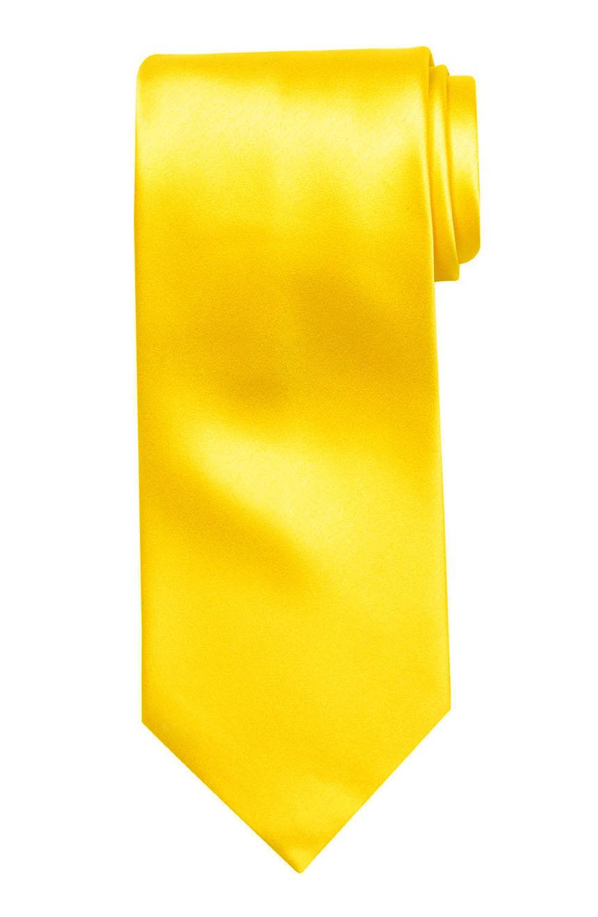 Mens handmade satin silk necktie in solid yellow color.