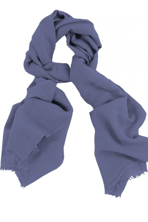Mens 100% cashmere scarf in aniline blue, single-ply with 1-inch eyelash fringe.
