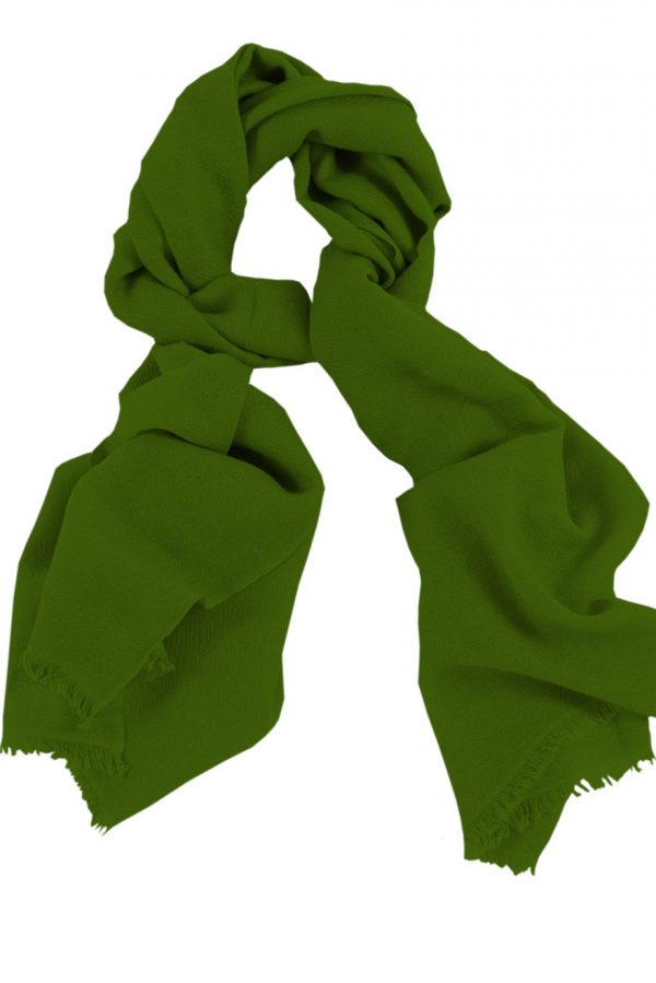 Mens 100% cashmere scarf in basil green, single-ply with 1-inch eyelash fringe.