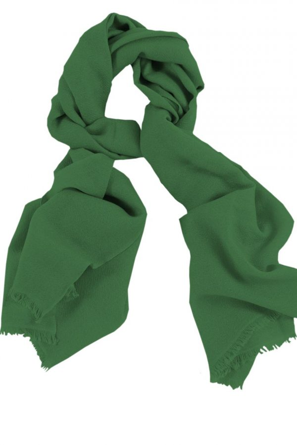 Mens 100% cashmere scarf in patina green, single-ply with 1-inch eyelash fringe.