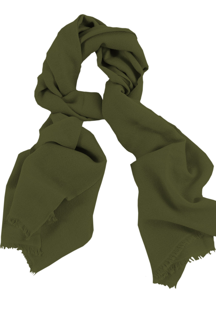 Mens 100% cashmere scarf in olive, single-ply with 1-inch eyelash fringe.
