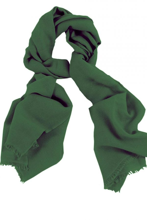 Mens 100% cashmere scarf in forest green, single-ply with 1-inch eyelash fringe.