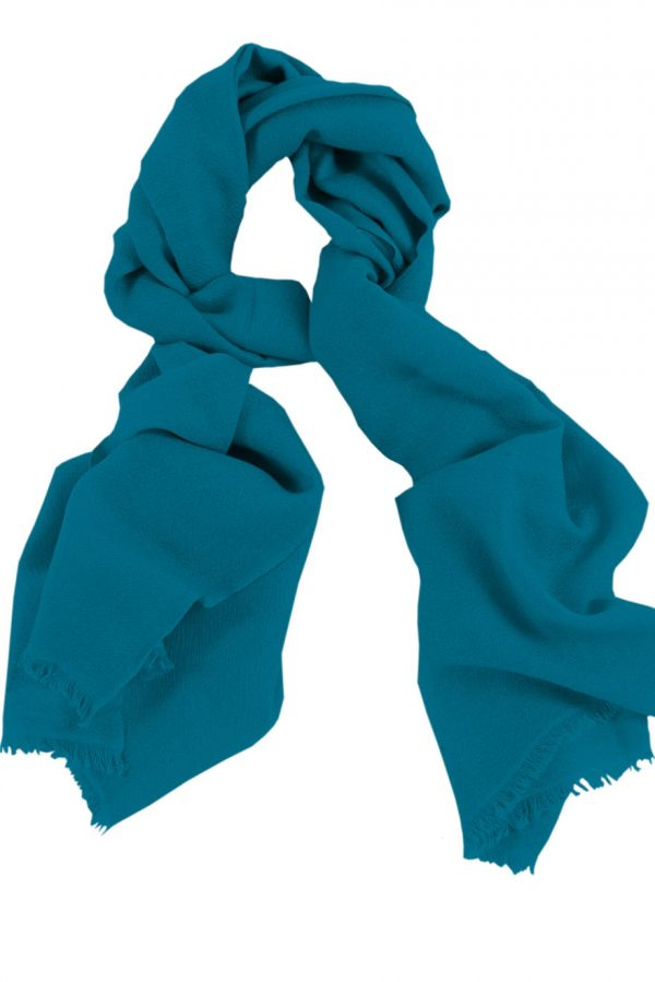 Mens 100% cashmere scarf in blue teal, single-ply with 1-inch eyelash fringe.