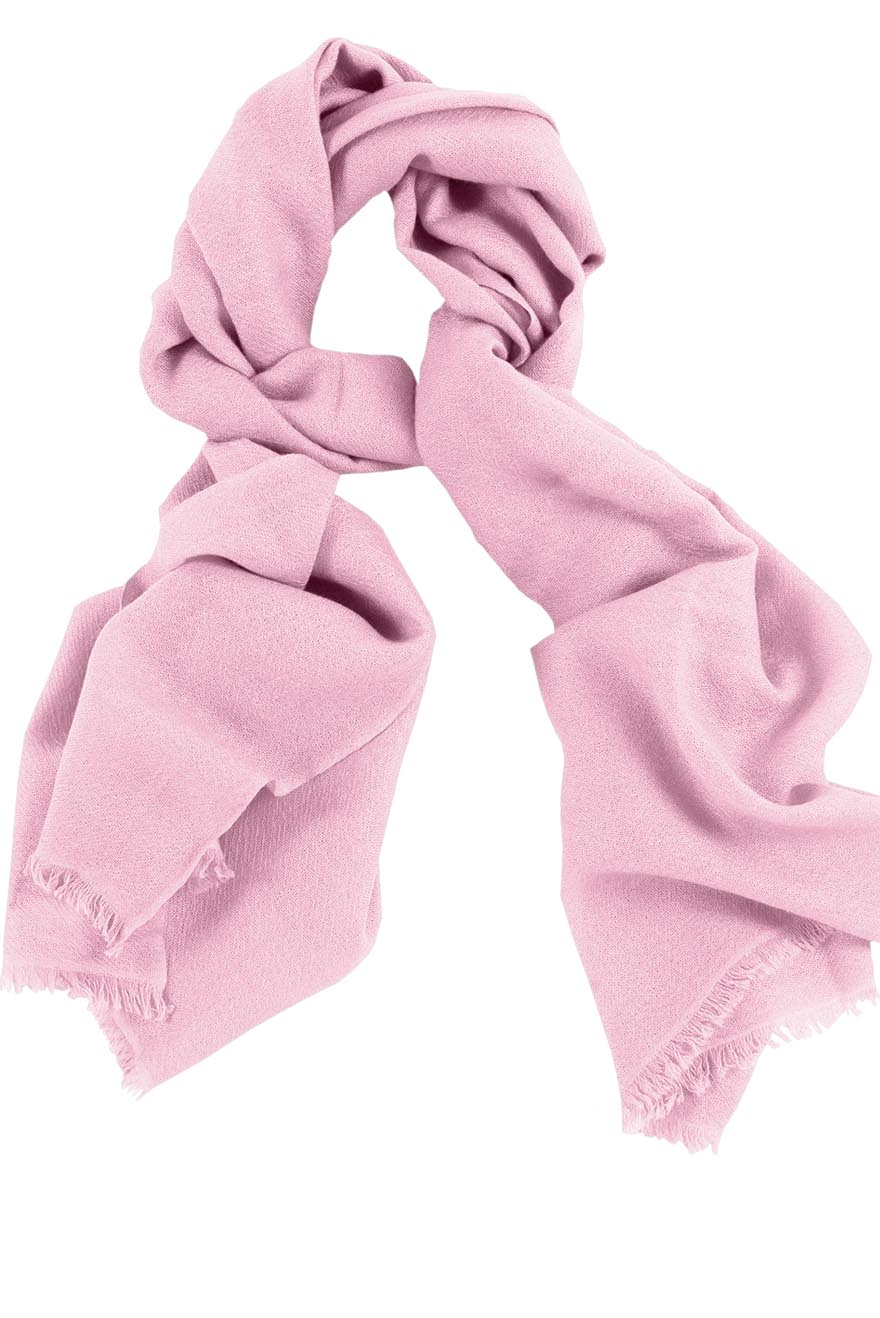 Mens 100% cashmere scarf in baby pink, single-ply with 1-inch eyelash fringe.