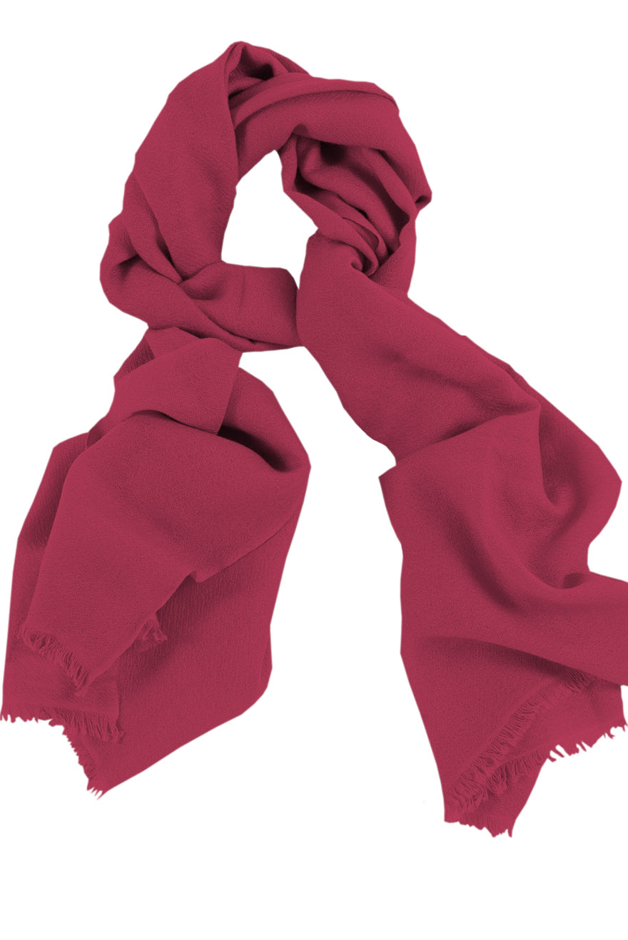 Mens 100% cashmere scarf in raspberry, single-ply with 1-inch eyelash fringe.