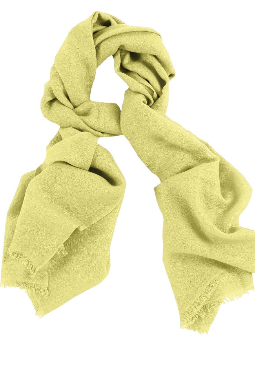 Mens 100% cashmere scarf in baby yellow, single-ply with 1-inch eyelash fringe.