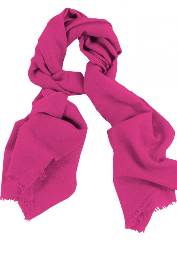 Mens 100% cashmere scarf in hot pink, single-ply with 1-inch eyelash fringe.