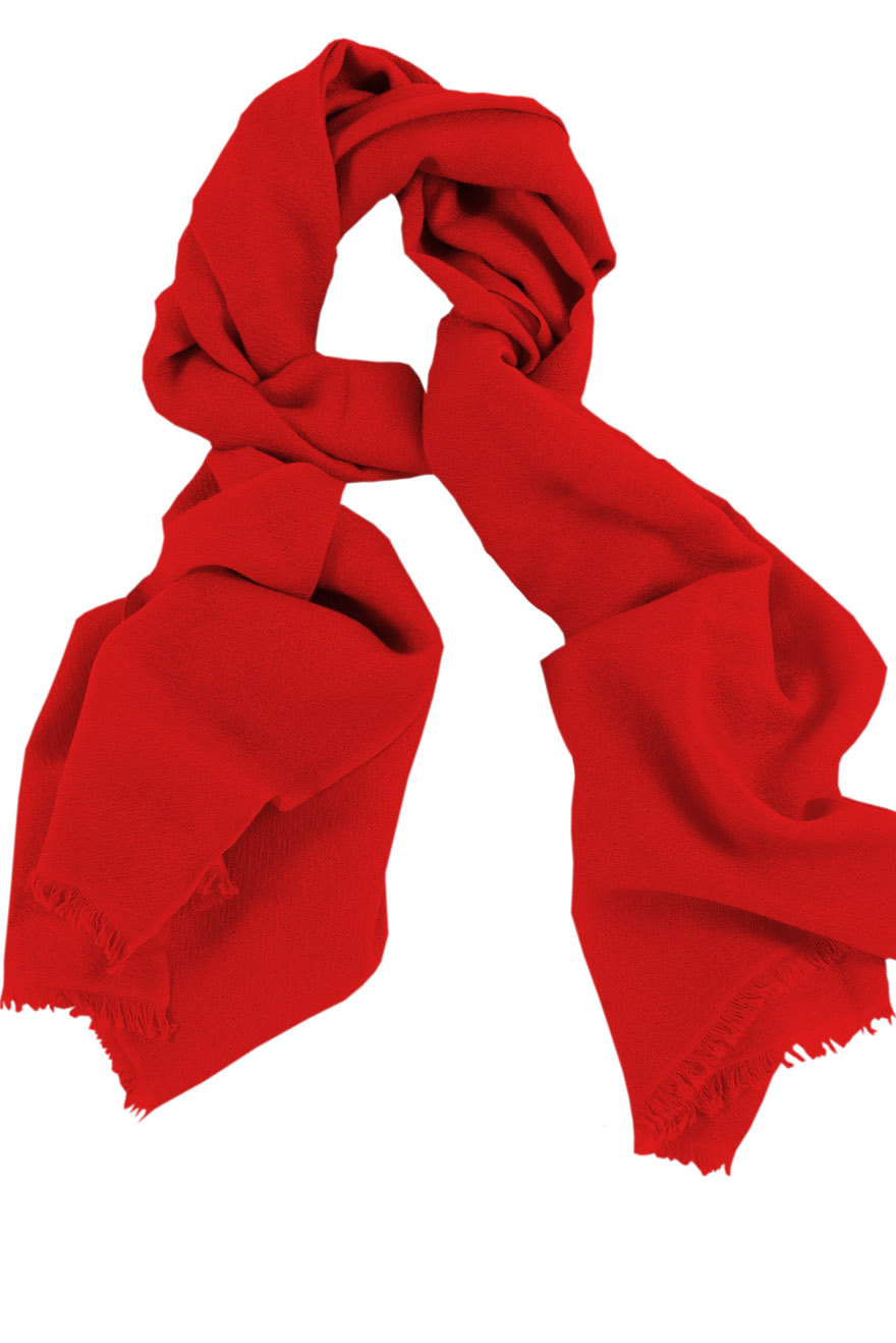 Mens 100% cashmere scarf in red, single-ply with 1-inch eyelash fringe.